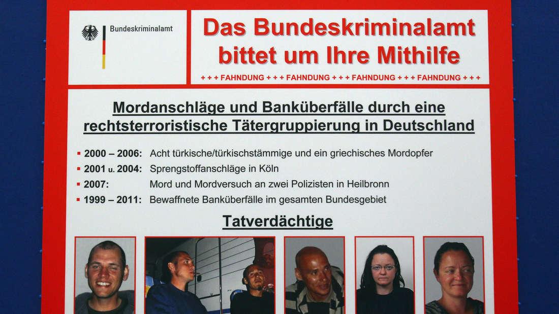 Das Fahndungsplakat für den NSU: Böhnhardt, Mundlos, Zschäpe. Und wer half dem NSU dabei, jahrelang im Untergrund zu leben, zehn Morde zu begehen und 15 Banken zu überfallen?