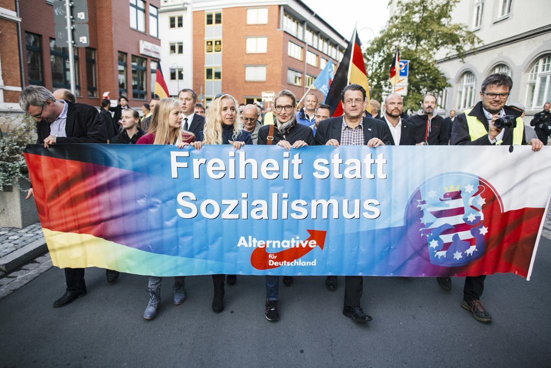 """Alice Weidel nahm am Dienstag ebenfalls an der Demo in Jena teil. BuzzFeed News sagte sie, sie haben von den rechtsextremen Parolen nichts mitbekommen. """"Es ist natürlich so, dass ich erstmal für die Mitläufer nichts kann."""""""