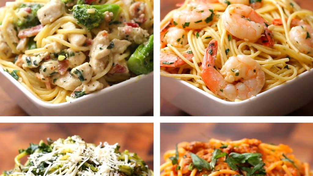 Splitscreen mit vier Spaghetti-Gerichten