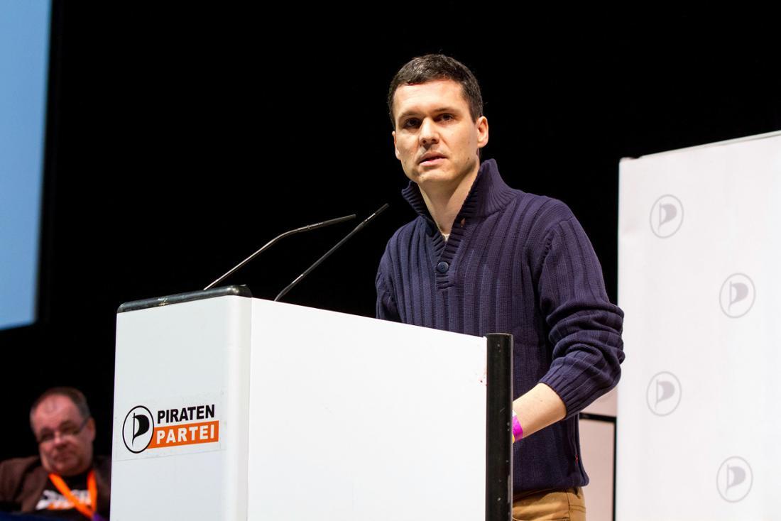 Gilles Bordelais beim Bundesparteitag der Piratenpartei 2014.
