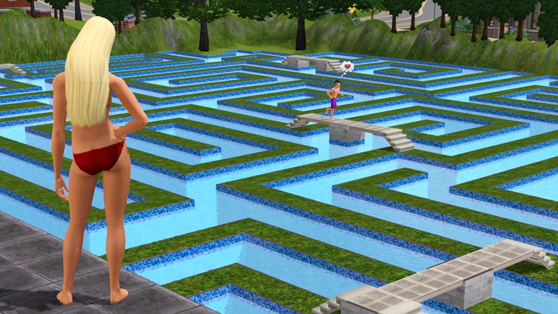 Ein weiblicher Sim, der beobachtet, wie ein Kind über eine Brücke läuft. Das gesamte Gebiet ist ein Labyrinth mit Pools, die abgezweigt sind.