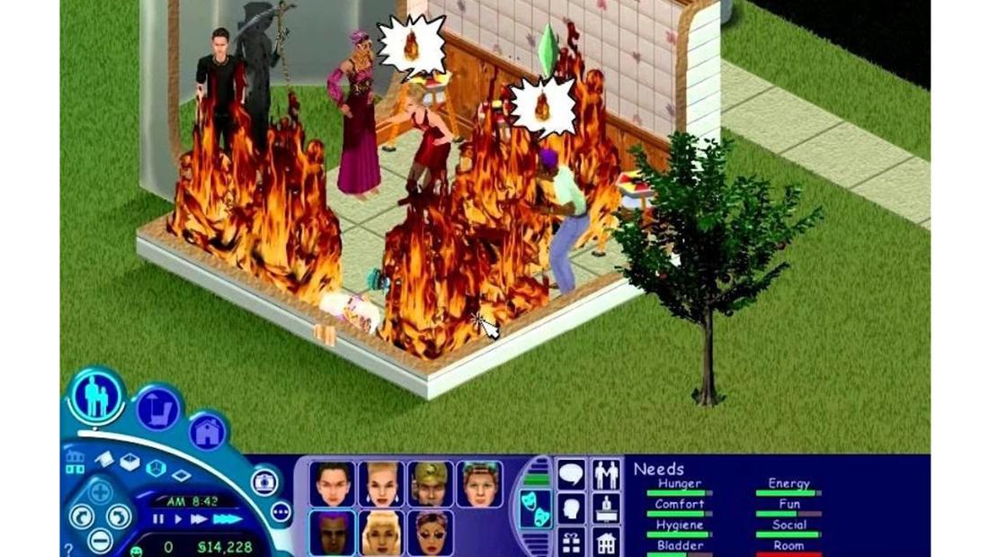Ein Screenshot aus dem Spiel Die Sims, die alle in einem Haus stehen, das brennt. Links neben dem Haus steht ein Sensenmann. Alle Sims sehen verzweifelt aus und haben das Zeichen für einen Brand über dem Kopf.