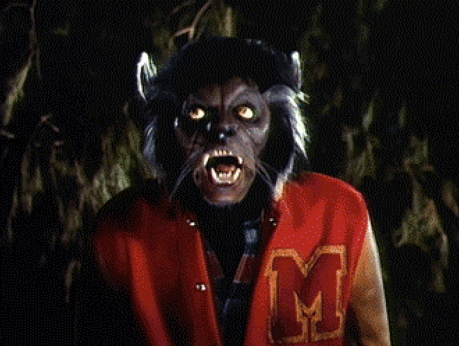 Michael Jackson as a werewolf in the Thriller video