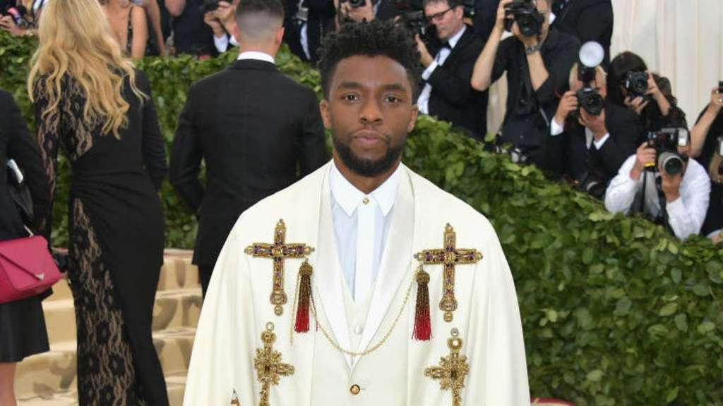 Chadwick Boseman poses at the Met Gala
