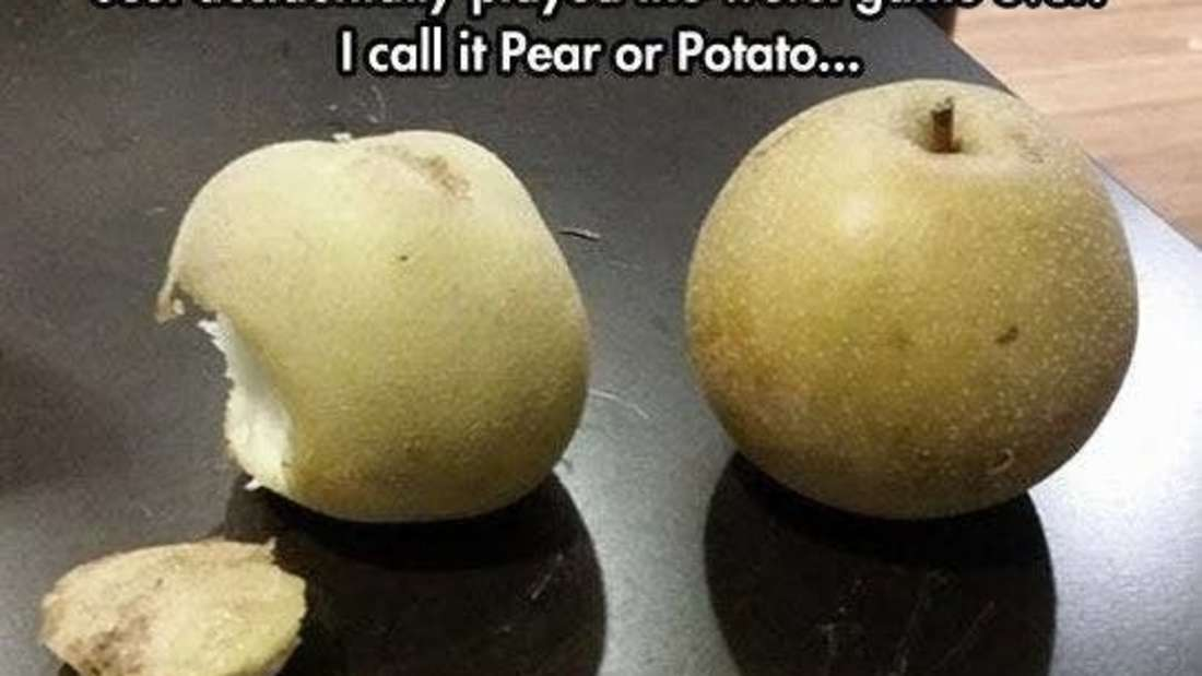 picture of two beige fruits that reads just accidentally played the worst game ever pear or potato