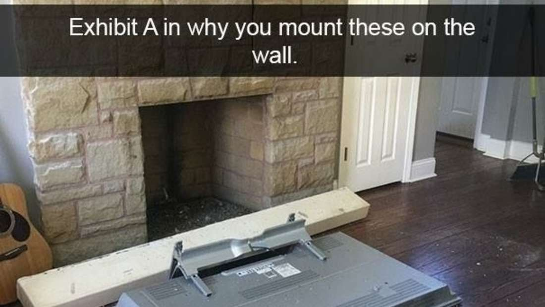 flat screen tv that fell face-first on the floor