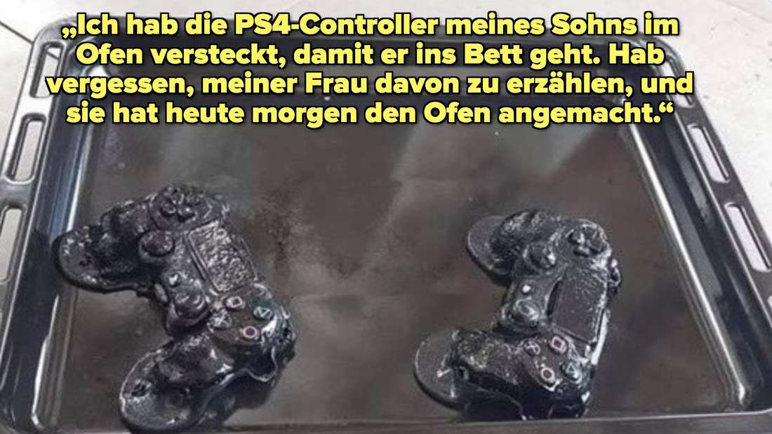 tweet about a man leaving ps4 controllers in the oven to hide from his kids and his wife turned the oven on