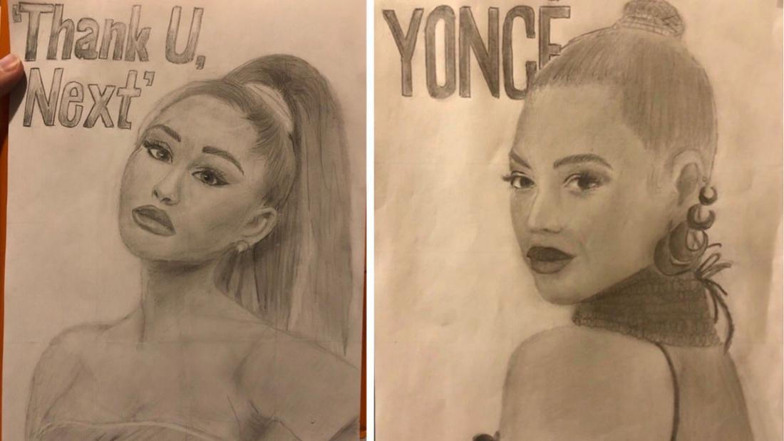 Eine Zeichnung von Beyoncé und eine von Ariana Grande