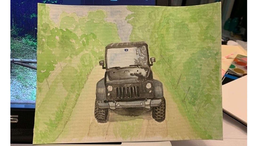 Ein Wasserfarben Bild von einem Jeep