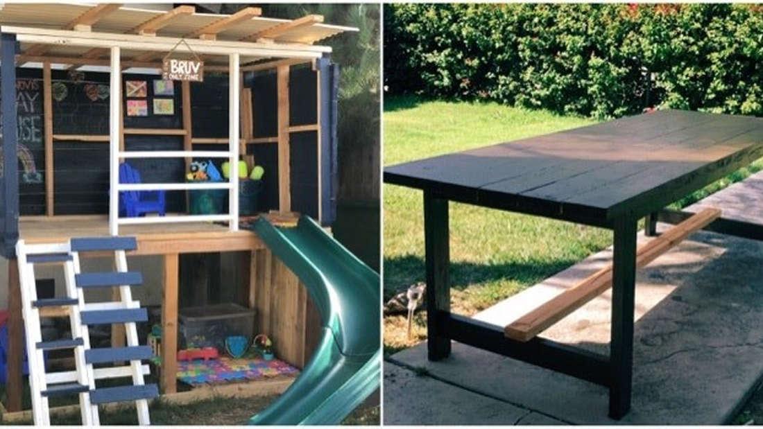 Ein Spielhaus für Kinder und ein Esstisch im Landhausstil