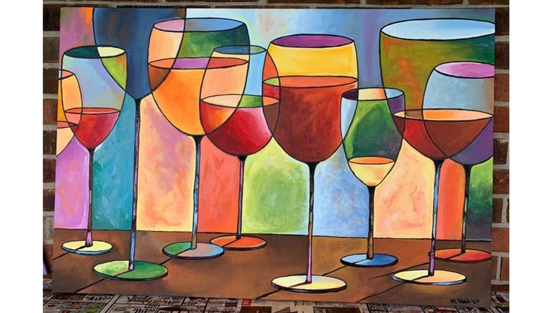 Ein Gemälde mit Weingläsern