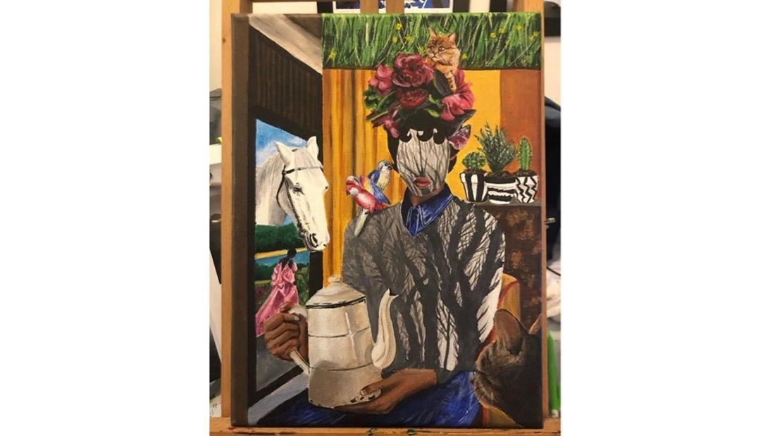 Ein Gemälde mit Person, Teekanne und Pferd