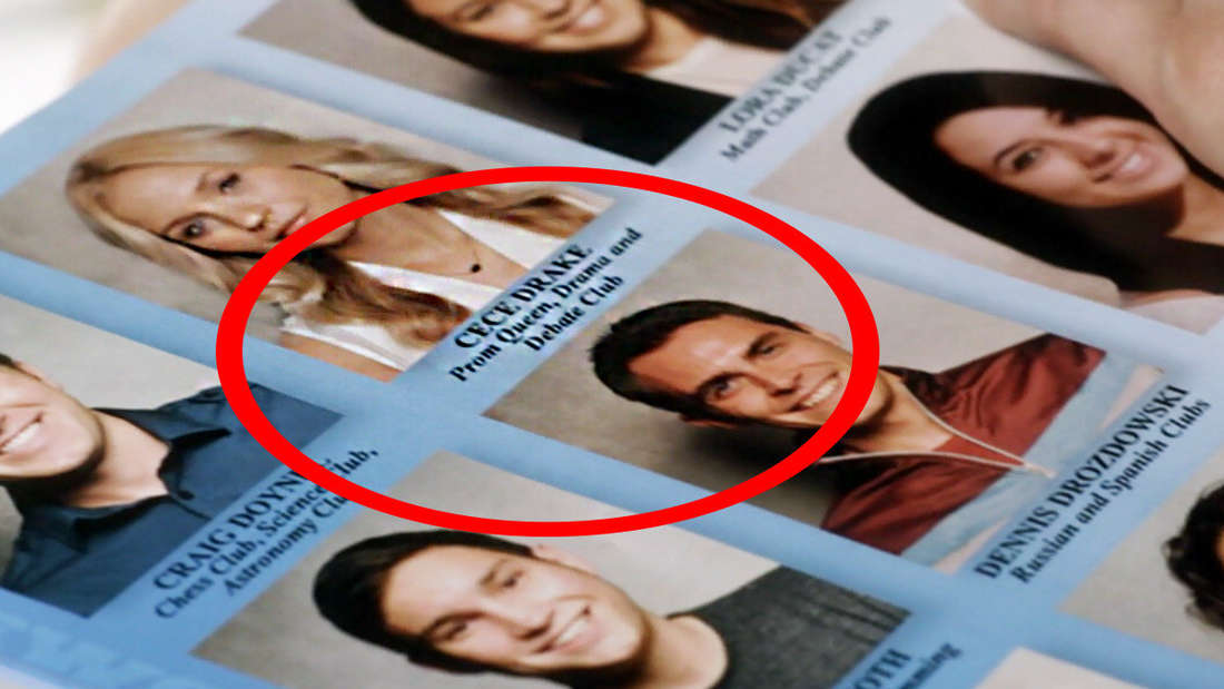 """CeCe's picture in the yearbook, """"prom queen"""" circled"""