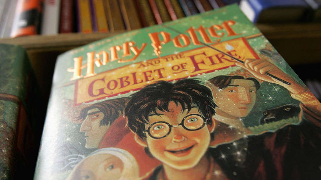 """Close-up of a copy of """"Harry Potter and the Goblet of Fire"""""""
