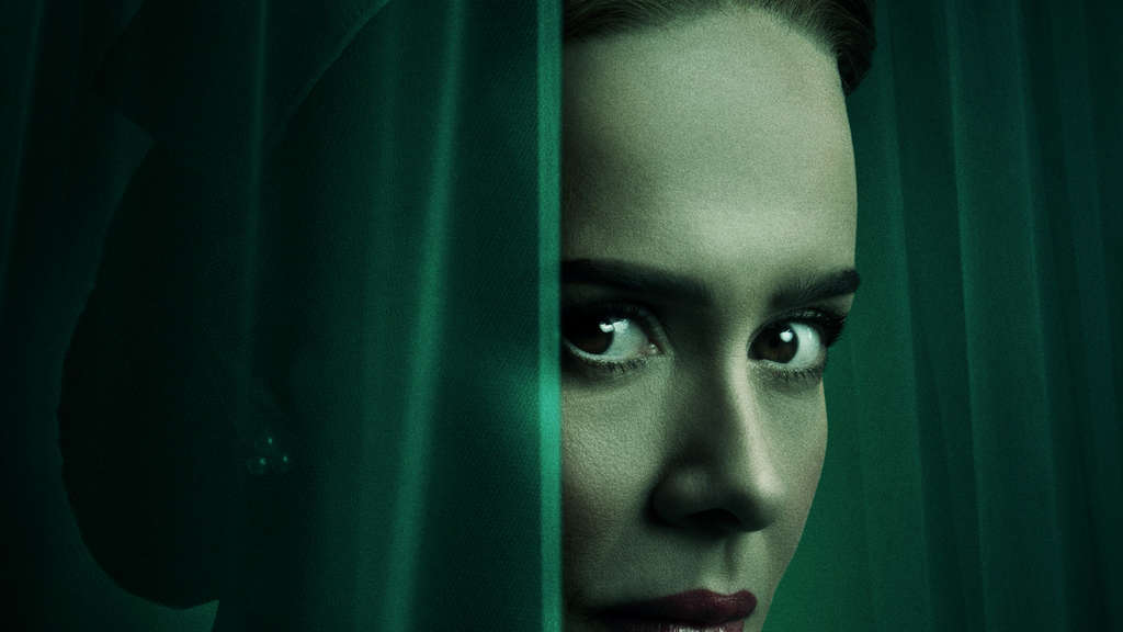 "Actress Sarah Paulson posing in the poster for the show ""Ratched"""