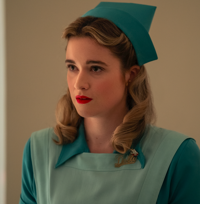 "Alice Englert as Nurse Dolly in the show ""Ratched."