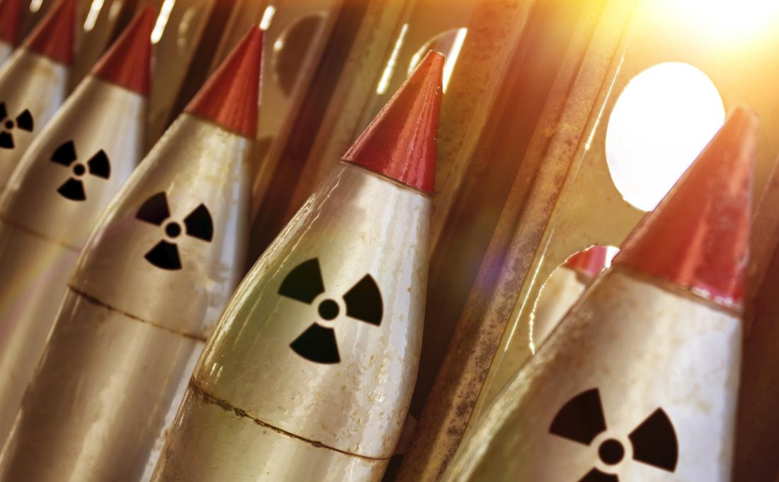 Nuclear missiles in a row.