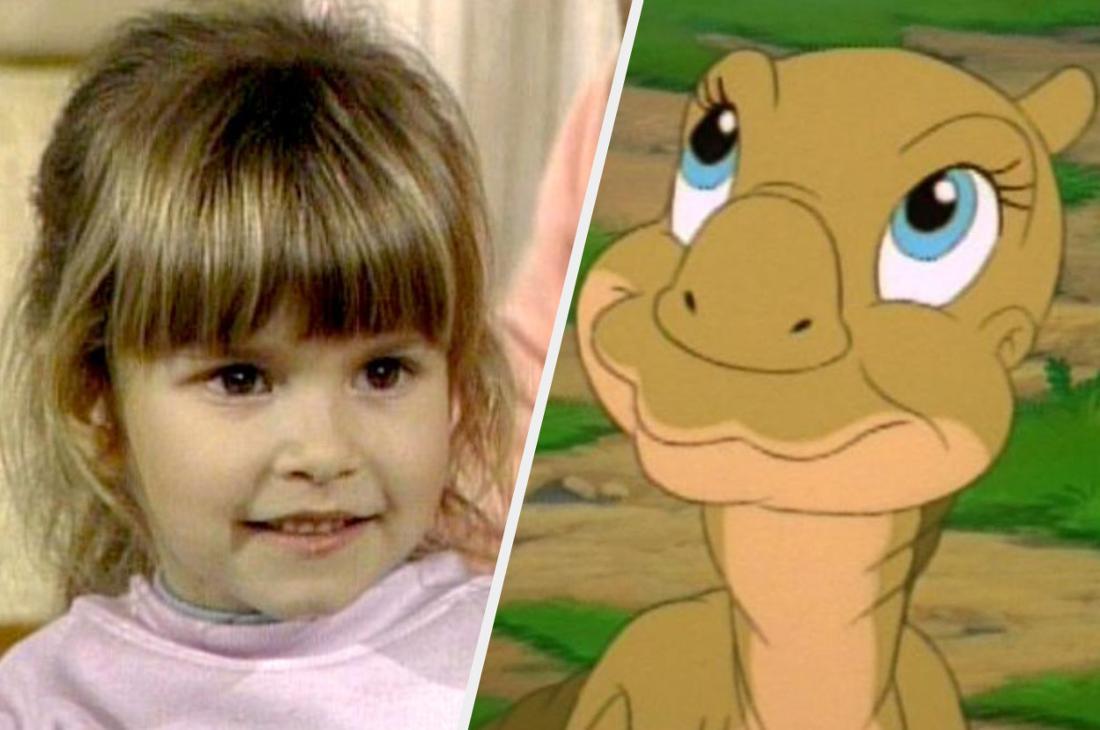 A picture of Judith Barsi and Ducky from The Land Before Time.