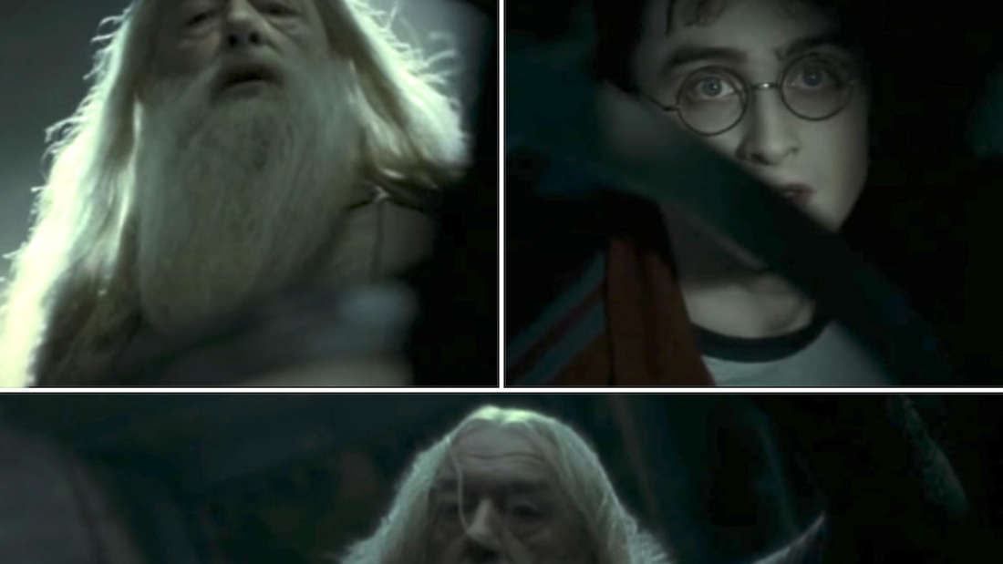"""Dumbledore looking down at Harry just before he gets killed in """"Half-Blood Prince"""""""