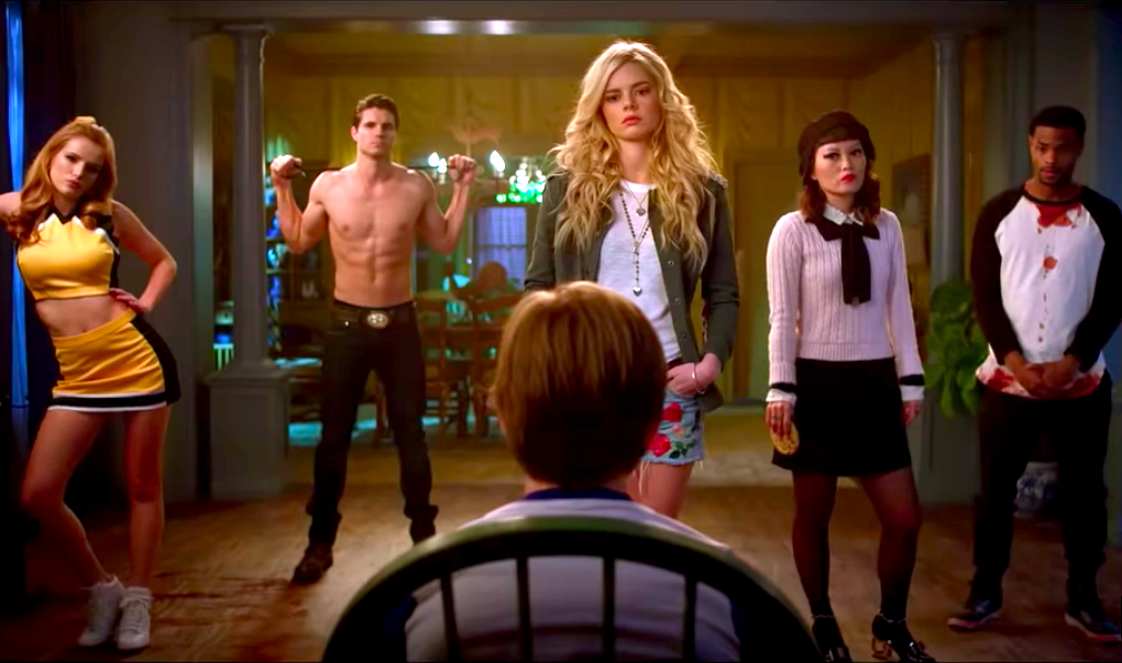 Bella Thorne, Robbie Amell, Judah Lewis, Samara Weaving, Hana Mae Lee, and Andrew Bachelor in The Babysitter