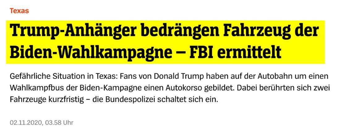 Spiegel: Trump-Anhänger bedrängen Fahrzeug der Biden-Wahlkampagne – FBI ermittelt