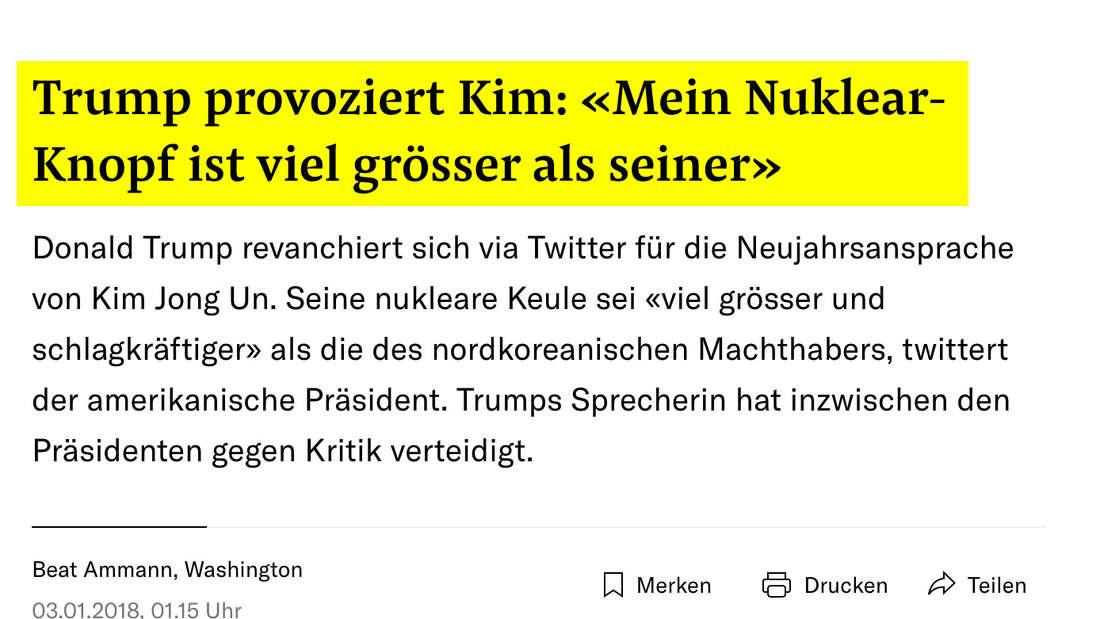 NZZ: Trump provoziert Kim: «Mein Nuklear-Knopf ist viel grösser als seiner»