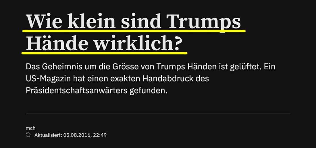 Tagesanzeiger: Wie klein sind Trumps Hände wirklich?