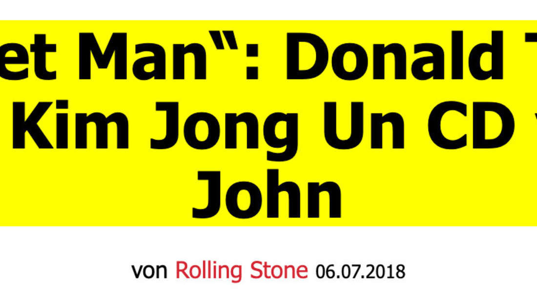"Rolling Stone: ""Rocket Man"": Donald Trump schenkte Kim Jong Un CD von Elton John"