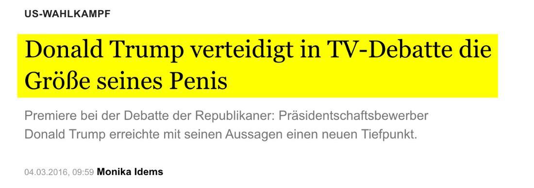Berliner Morgenpost: Donald Trump verteidigt in TV-Debatte die Größe seines Penis