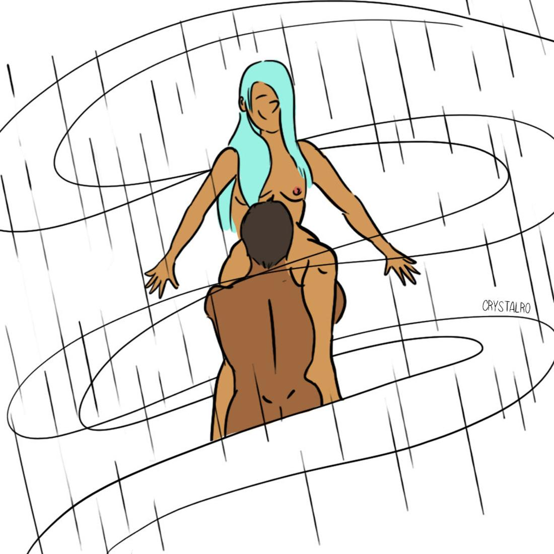 Drawing of a couple having oral sex in a shower that looks like a rain storm