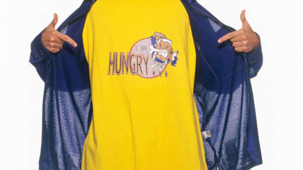 Howie D wearing an I'm Hungry shirt