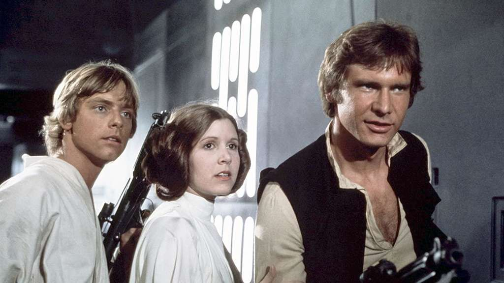 Luke Skywalker, Prinzessin Leia und Han Solo an Bord des Todessterns.