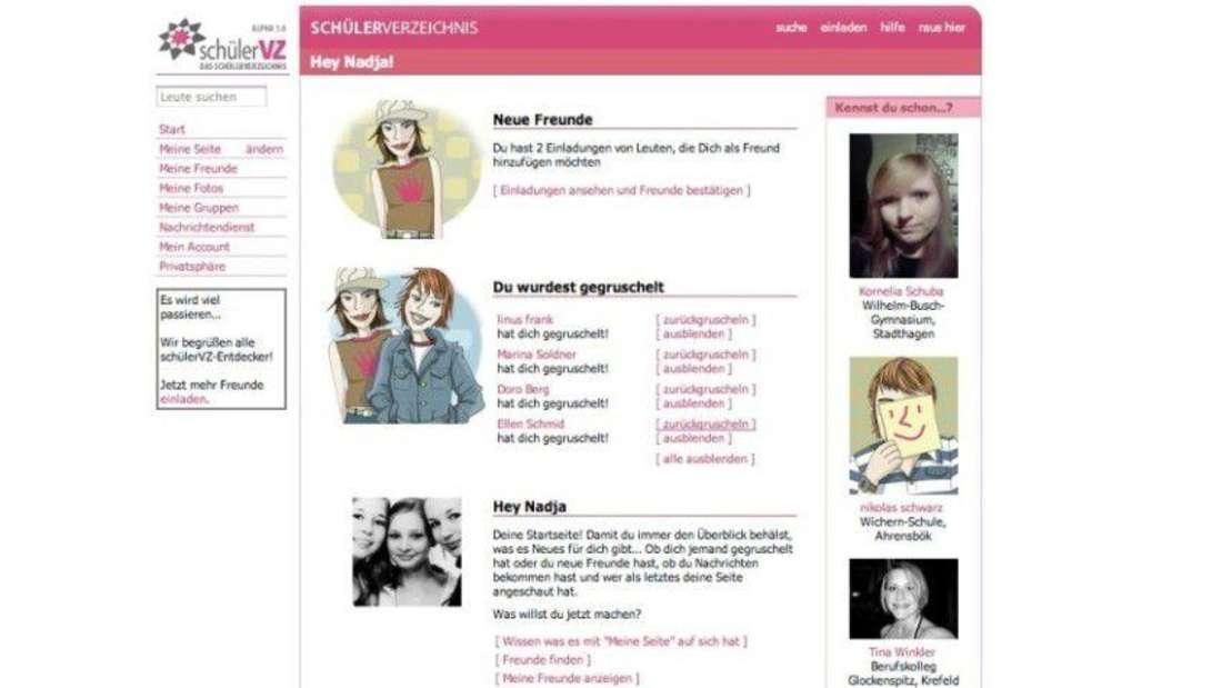 Die alte Startseite des sozialen Netzwerkes schülerVZ