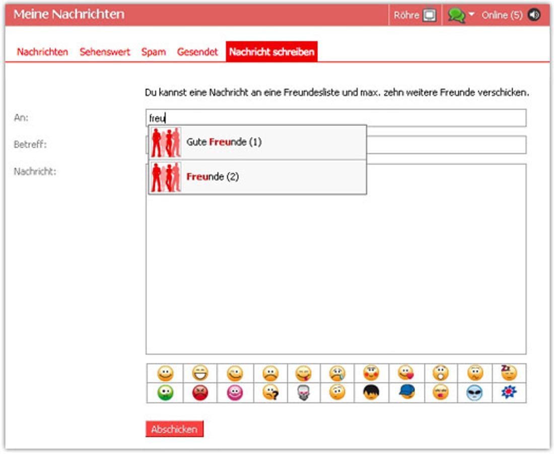 Das Bild zeigt die Darstellung des Plauderkastens auf StudiVZ, welches ein soziales Netzwerk für Studierende war. Es kann eine Nachricht mit verschiedenen Emojis an verschiedene Freundesgruppen geschrieben werden.