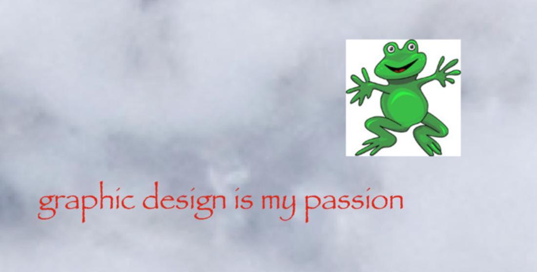 """Das Bild zeigt ein berühmtes Internet Meme, in welchem auf einem Hintergrund, der Rauch zeigt, mit roter Schrift """"Graphic Design is my Passion"""" geschrieben wurde. Außerdem ist ein eingefügtes Bild von einem Frosch zu sehen."""
