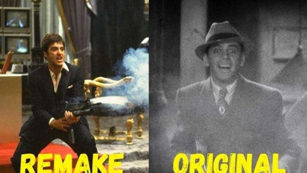 """Al Pacino in seiner Rolle als Tony Montana in """"Scarface"""" von 1983 und sein Pendant von 1932 schießen mit einer Maschinenpistole."""
