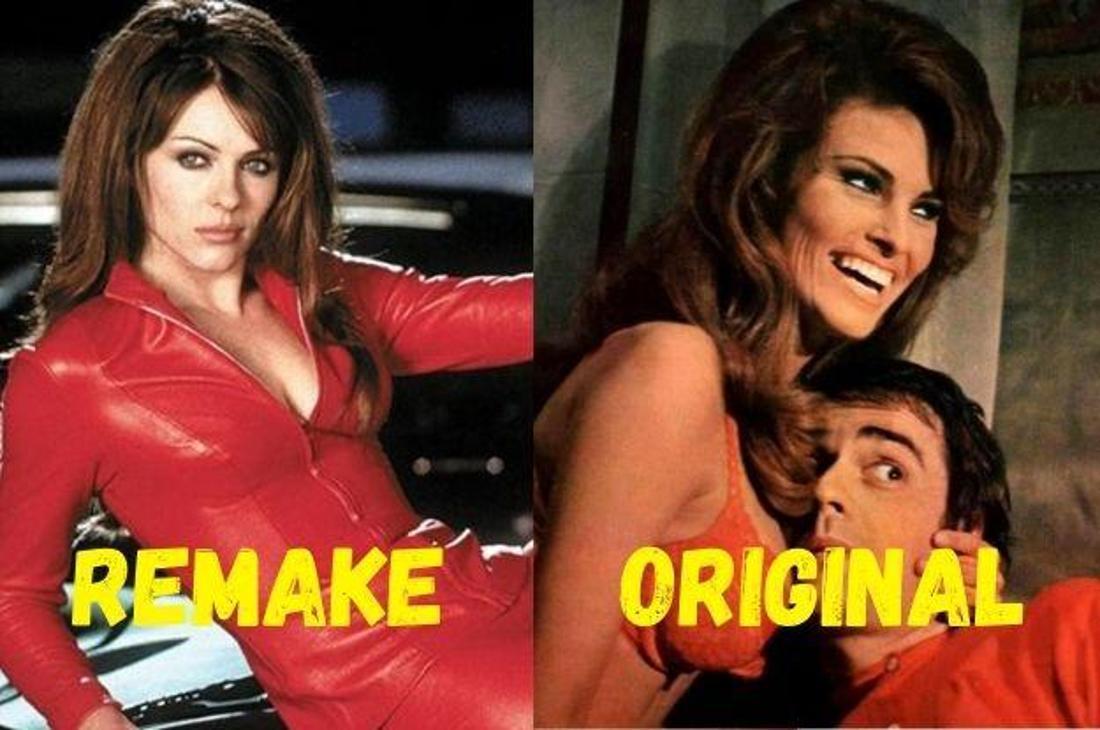 """Elizabeth Hurley als Teufel im Film """"Teuflisch"""" und Raquel Welch als Lilian Lust im Original """"Mephisto'68""""."""