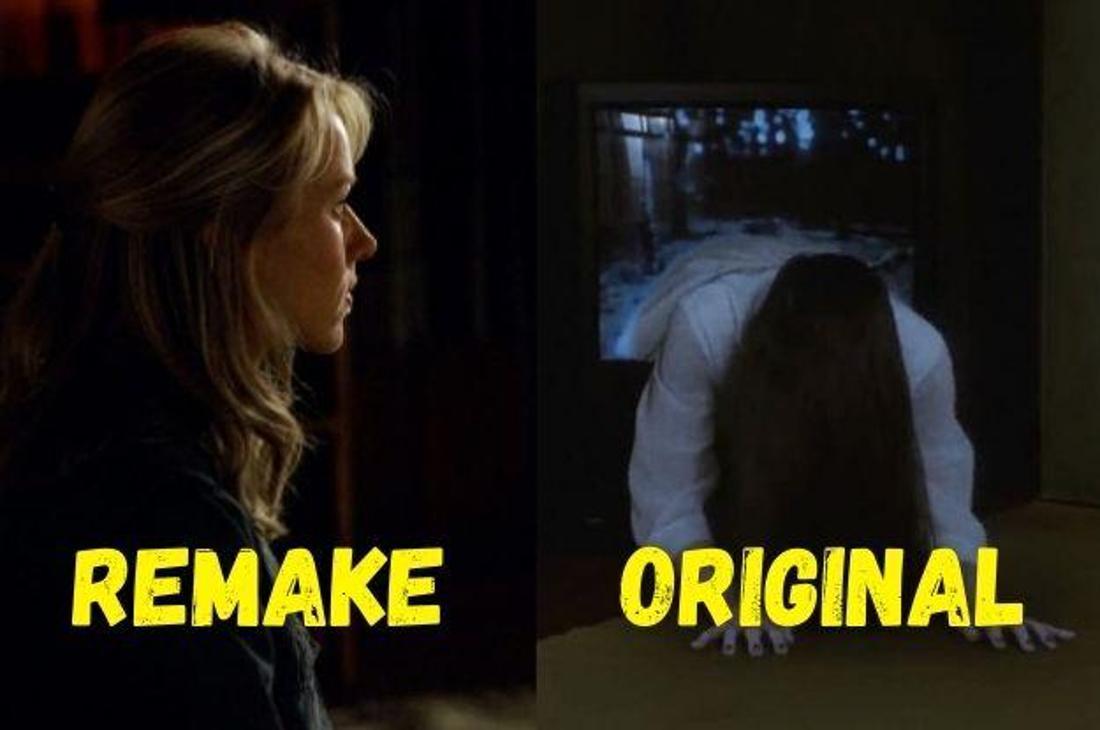 """Naomi Watts in der Hauptrolle des Films """"The Ring"""" und das kleine Mädchen Sadako aus dem Original """"Ring"""", wie es aus einem Fernseher steigt."""