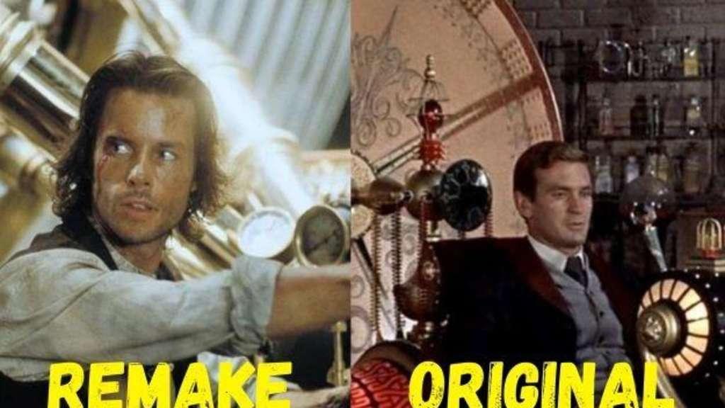 """Die Professoren in ihren Zeitmaschinen aus den Filmen """"The Time Machine"""" und dem Original """"Die Zeitmaschine""""."""