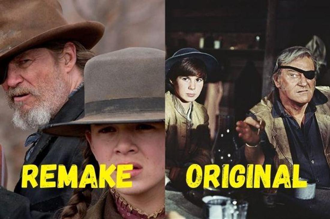 """Jeff Bridges und John Wayne in den Hauptrollen der Filme """"True Grit"""" und """"Der Marshal"""" zusammen mit den Darstellerinnen der Rolle Mattie Ross."""