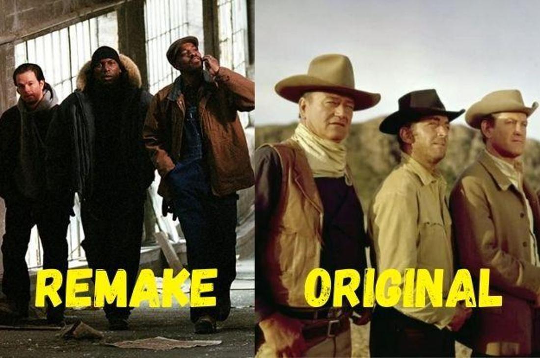 """Je drei der vier Brüder aus den Filmen """"Vier Brüder"""" mit Mark Wahlberg und """"Die vier Söhne der Katie Elder"""" mit John Wayne."""
