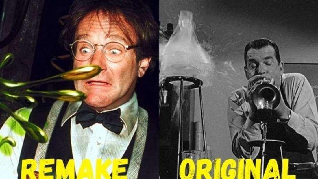 """Robin Williams als Professor in """"Flubber"""" und sein Vorgänger im Originalfilm """"Der fliegende Pauker""""."""