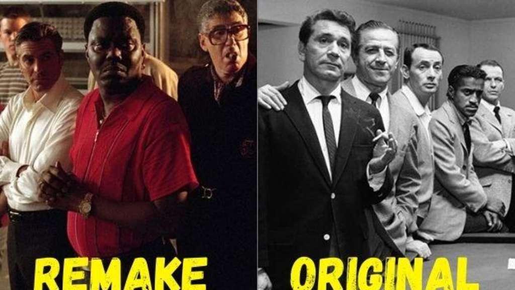 """Die Gangster rund um George Clooneys und Frank Sinatras Danny (bzw. Frankie) Ocean in den Filmen """"Ocean's Eleven"""" und """"Frankie und seine Spießgesellen""""."""