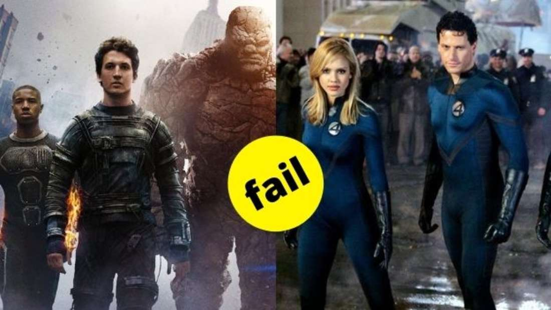 "The Human Torch, Mr. Fantastic und The Thing aus ""Fantastic Four"" von 2015 im Vergleich zu Mr. Fantastic und The Invisible Woman aus dem Original von 2005."