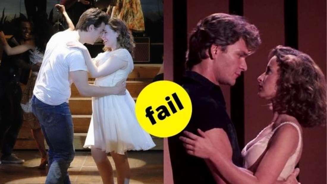 """Johnny und Baby tanzen in der Schlussszene der Filme """"Dirty Dancing"""" von 2017 und 1987."""