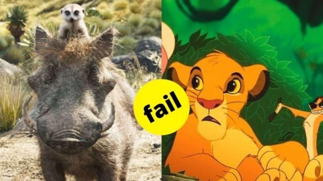 """Timon und Pumbaa aus dem Film """"König der Löwen"""" von 2019 im Vergleich zu Simba aus dem Original von 1994."""