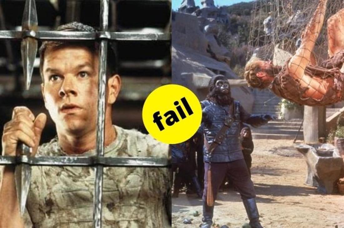 """Mark Wahlberg in seiner Rolle als Captain Leo Davidson wird im Film """"Planet der Affen"""" gefangen gehalten. Im Vergleich sein Vorgänger Charlton Heston im Originalfilm von 1968, ebenfalls in Gefangenschaft."""