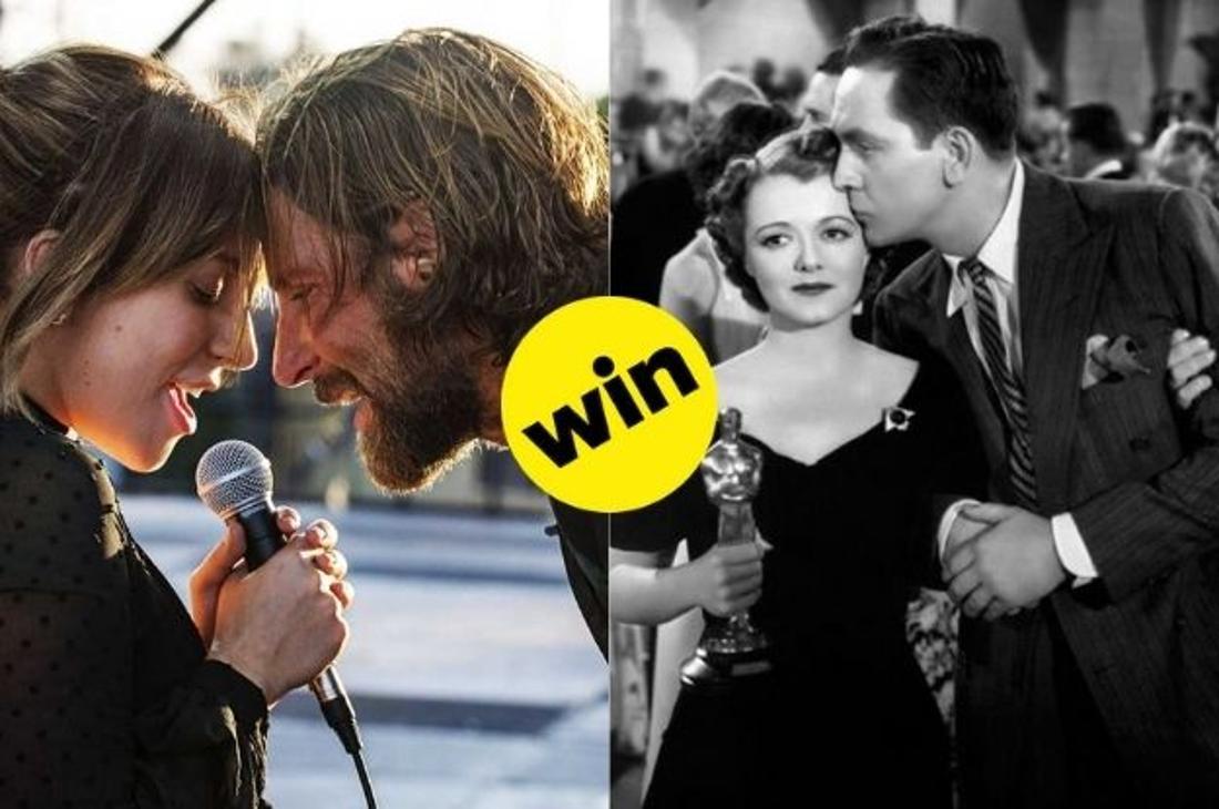 """Lady Gaga und Bradley Cooper singen zusammen in """"A Star is born"""". Im Vergleich dazu Janet Gaynor, die ihn """"Ein Stern geht auf"""" ihren Oscar hält."""