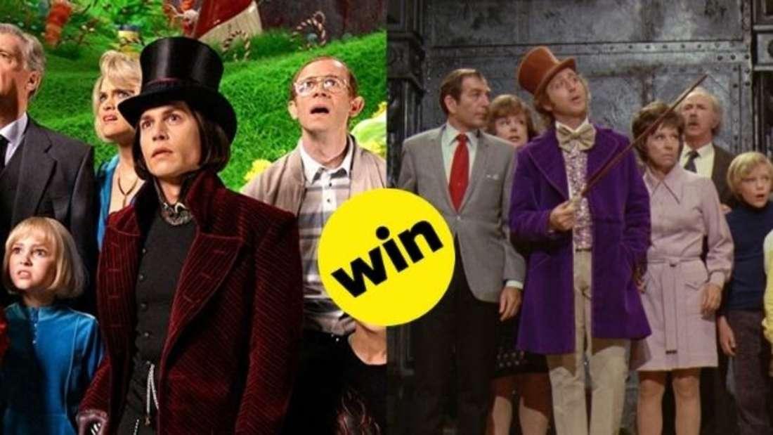 """In den Filmen """"Charlie und die Schokoladenfabrik"""" von 2005 und 1971 führen Johnny Depp und Gene Wilder als Willy Wonka eine Gruppe Kinder mit ihren Eltern durch die Fabrik."""