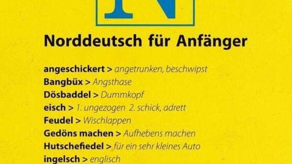Das Bild zeigt ein Comedy-Wörterbuch mit Übersetzungen von Norddeutsch ins Hochdeutsche.